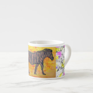 purple zebra drip painting espresso cup