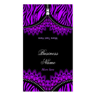 Purple ZEBRA Fold Over Black Corset Double-Sided Standard Business Cards (Pack Of 100)