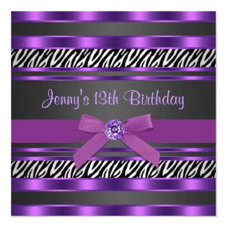Purple Zebra Girls 13th Birthday Party Card