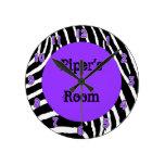 Purple Zebra Girls Room Wall Clock with Name