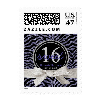 Purple Zebra Glitter Look Personalized Sweet 16 Postage