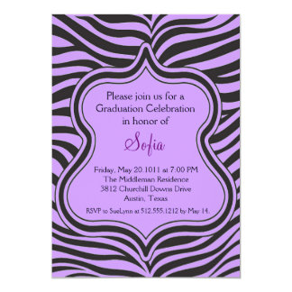 Purple Zebra Graduation Invitation Custom Color
