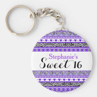 Purple zebra heart Sweet 16 Keychain