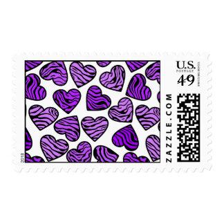 Purple Zebra hearts Design postage