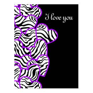 Purple zebra hearts Design Postcard