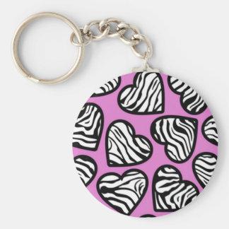 Purple zebra hearts Keychain