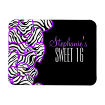 Purple zebra hearts Sweet 16 Birthday Magnet