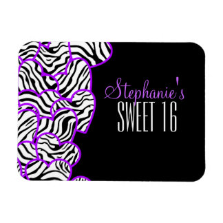 Purple zebra hearts Sweet 16 Birthday Magnet