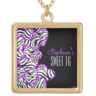 Purple zebra hearts Sweet 16 Birthday Necklace