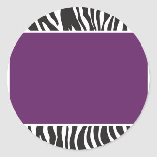Purple Zebra Invite Classic Round Sticker