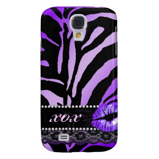 Purple Zebra iPhone Cover Jewelry Lace Samsung Galaxy S4 Covers