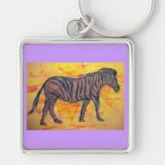 purple zebra keychain