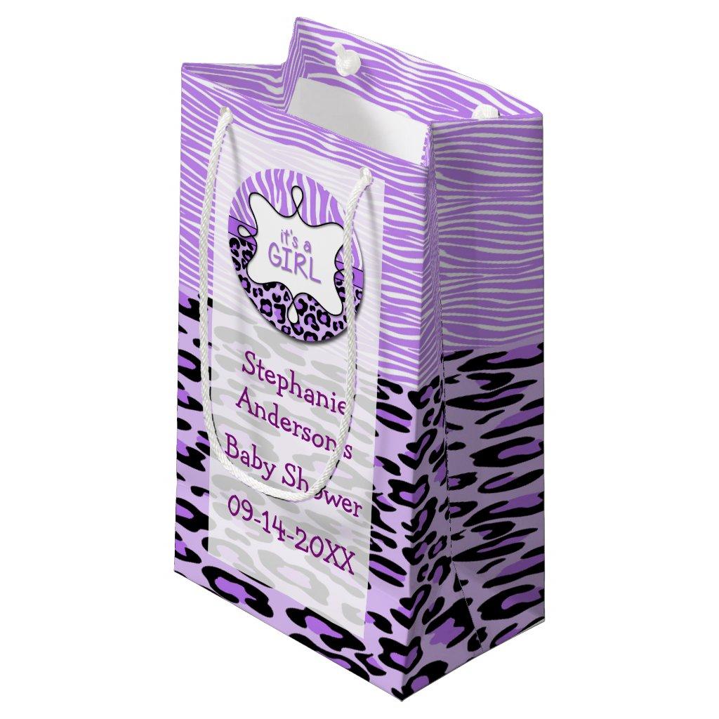 Purple Zebra,Leopard Girl Baby Shower Gift Bag