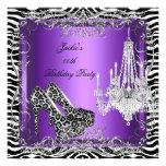 Purple Zebra Leopard Print Party Shoes Custom Invitations