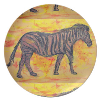 purple zebra melamine plate