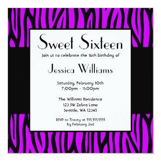 Purple Zebra Modern Sweet 16 Birthday Party Card