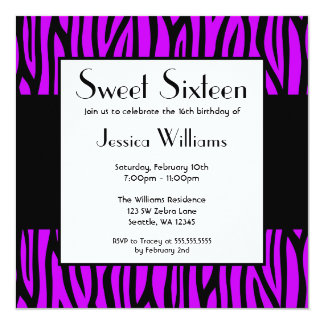 Purple Zebra Modern Sweet 16 Birthday Party 5.25x5.25 Square Paper Invitation Card