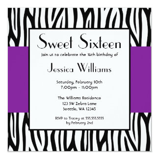 Purple Zebra Modern Sweet 16 Card