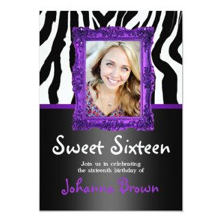 Purple Zebra - Photo - Sweet 16 Invitation