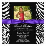 Purple Zebra Photo Sweet 16 Party Announcements