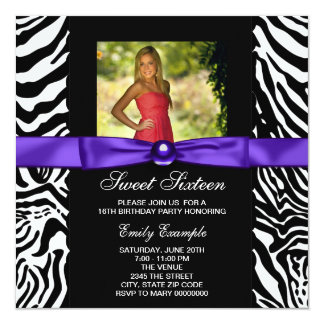 Purple Zebra Photo Sweet 16 Party Card