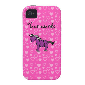 Purple zebra pink hearts vibe iPhone 4 cases