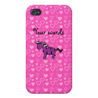 Purple zebra pink hearts case for iPhone 4