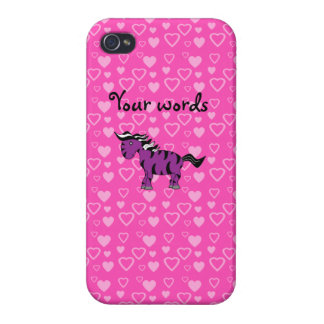 Purple zebra pink hearts iPhone 4/4S covers