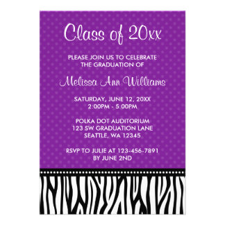 Purple Zebra Polka Graduation Announcement