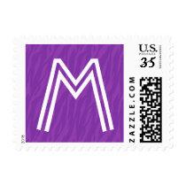 Purple Zebra Print Any Initial Wedding Monogram Postage
