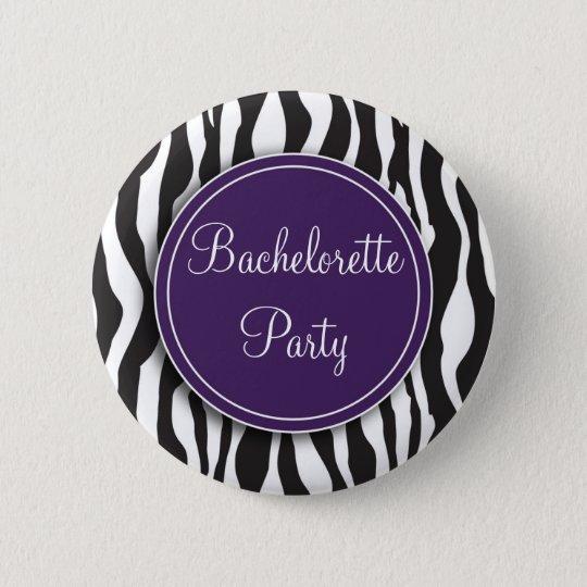 Purple Zebra Print Bachelorette Party Button