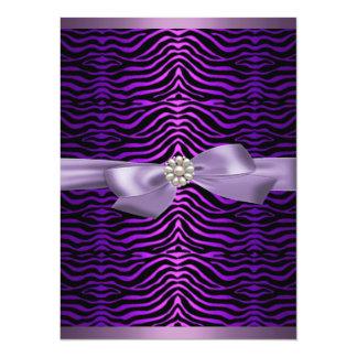 Purple Zebra Print & Bow Sweet16 Birthday Invite