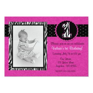 Purple Zebra Print Girls 1st Birthday Invitation