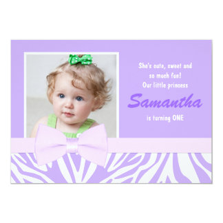 Purple Zebra Print Girls Birthday Party Photo 5x7 Paper Invitation Card