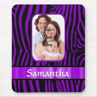 Purple zebra print mouse pad