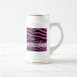 Purple zebra print pattern 18 oz beer stein