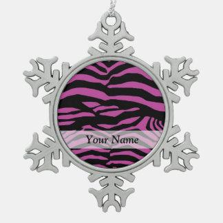 Purple zebra print pattern snowflake pewter christmas ornament
