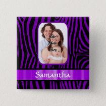 Purple zebra print pinback button