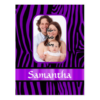 Purple zebra print postcard