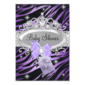 Purple Zebra Print & Princess Tiara Baby Shower 3.5x5 Paper Invitation Card