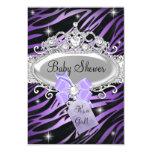Purple Zebra Print & Princess Tiara Baby Shower Card