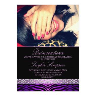 Purple Zebra Print Quinceañera Birthday invite