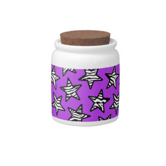 Purple zebra print stars candy jars