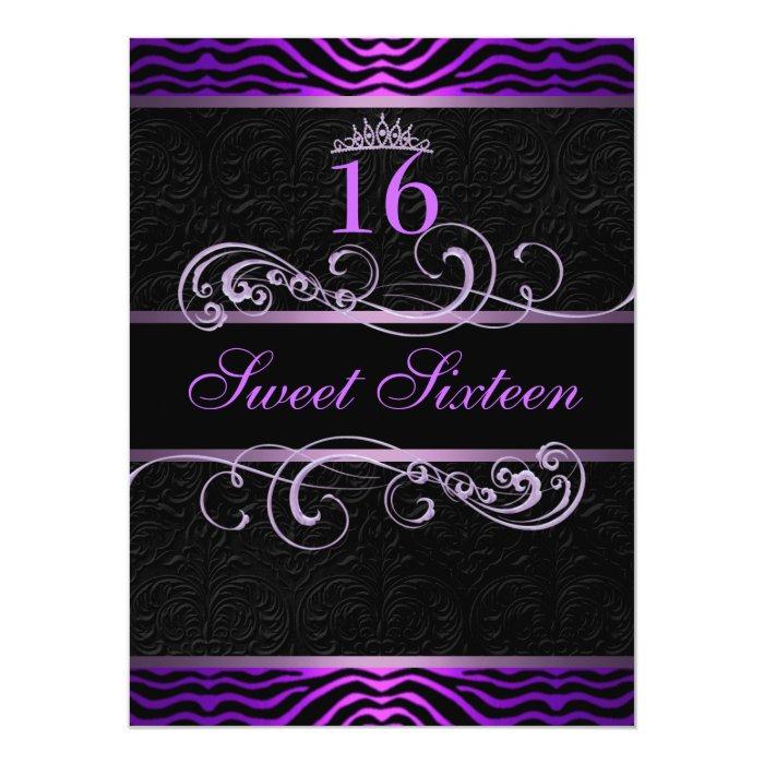 Purple Zebra Print & Swirl Sweet16 Birthday Invite