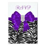 Purple Zebra RSVP Card Personalized Invites