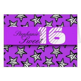 Purple zebra stars Sweet 16 Birthday Card