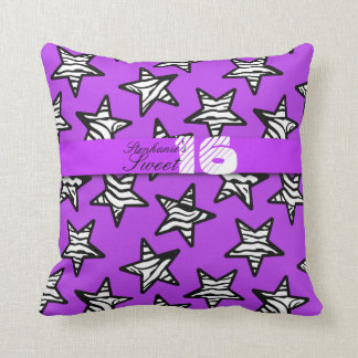 Purple zebra stars Sweet 16 Birthday Pillow