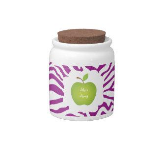 Purple Zebra Stripe-Green Apple Teacher s Candy Dishes