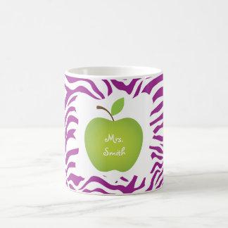 Purple Zebra Stripe Green Apple Teacher's Coffee Mug