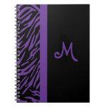 Purple Zebra Stripe Monogram Notebook